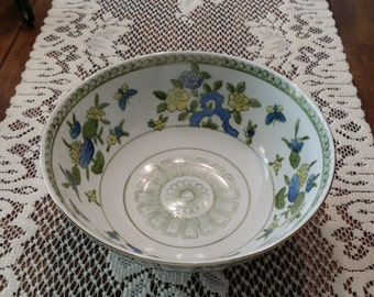 Butterfly and Floral Gold Trimmed Porcelain Serving/Rice Bowl