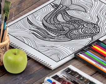 KOI FISH: A Printable Adult Coloring Page