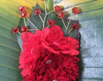 Red Bead & Flower Hair Clip