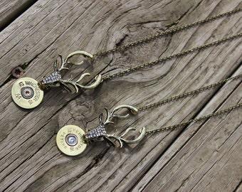 Handmade 12ga Shotgun Shell Bullet Necklace with Buck Stag Deer Charm Winchester or Remington, Shotgun Shell Necklace
