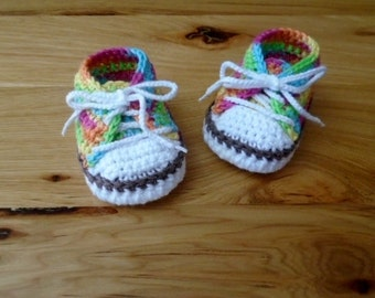 Baby Girl Shoes, Baby Girl Tennis Shoes, Colorful Crocheted Baby Sneakers, Baby Shower Gift, Girl Sneakers, Newborn Shoes