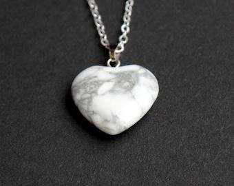 Howlite pendant, heart necklace, howlite heart, marble necklace, marble heart, spiritual necklace, calming necklace, bridesmaids gift