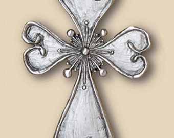 Heart Cross Pewter Wall Plaque