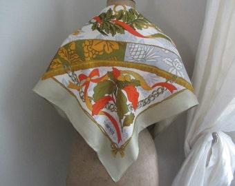 Square silk scarf TORRENTE Crown fleur de lis ref 11528