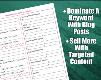 Keyword Domination - Related Posts Worksheet | Advanced Blogging Strategy Guide, Brainstorming Sheet For Advanced Bloggers, SEO, Blog