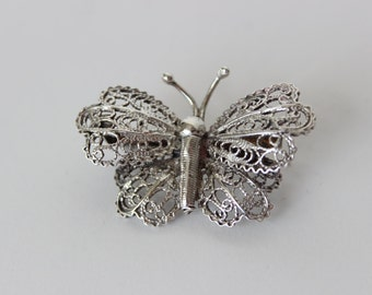 Vintage Silver Marked 925 Filigree Butterfly Brooch