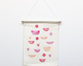 PINK GEO One of a Kind Hand Stamped Textile Wall Hanging Tapestry