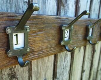 Vintage School Coat Hooks Rustic Industrial Coat Rack Reclaimed Wood Furniture (Any Length)