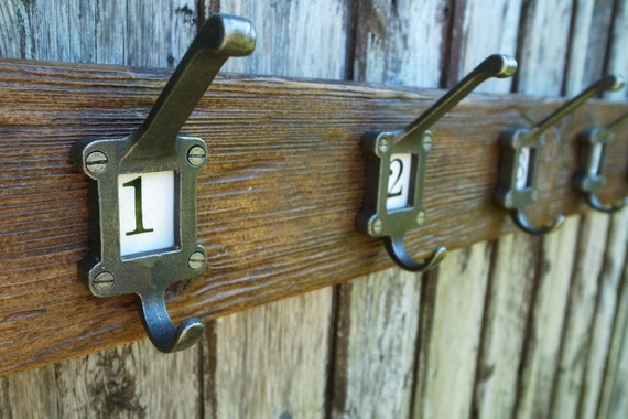 Vintage School Coat Hooks Rustic Industrial Coat Rack Reclaimed Wood Furniture (Any Length)