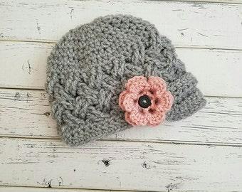 Baby Girl Crochet Textured Newsboy Hat, Girls Gray Newsgirl Hat, Newsboy Hat, Crochet Newsboy Baby Girl Hat, Newsgirl Gray, MADE TO ORDER!