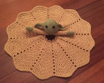 Crochet Star Wars Inspired Yoda Lovey, Doll, Security Blanket