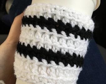 Black & White Stripe Knit Travel Cup Mug Cozies