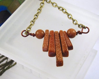 "Goldstone Fan ~ Horizontal Bar Necklace ~ Gemstone Fan ~ Trapeze Swing Necklace ~ Minimalist Organic 16"" Layerable"
