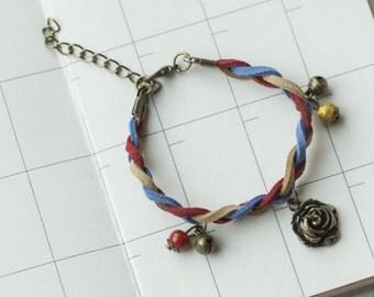 Beaded Braided Bracelet,Friends Bracelet,flower B-04