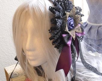 Purple Rose and Crown Elegant Gothic Lolita Headdress Black, EGL, Victorian, Kawaii, Classic Lolita, Kowai