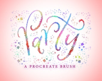 Party - A Procreate Lettering Brush by Printable Haven made for the iPad Pro and Apple Pencil.