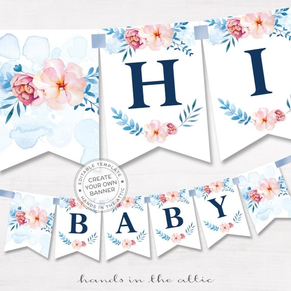 printable floral banner template couples baby shower bridal