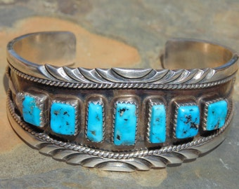 Emma Lincoln ~ Navajo Sterling Silver and Turquoise Cuff Bracelet