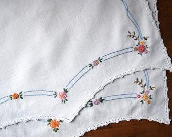 Vintage Hand Embroidered Linen Set