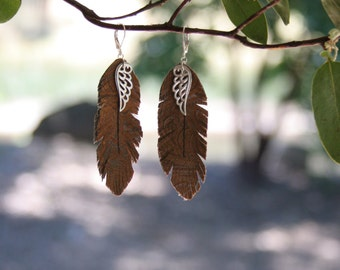 "Leather Feather Earrings/ Angel Wings / Bohemian Jewelry / 3.25"" hanging"
