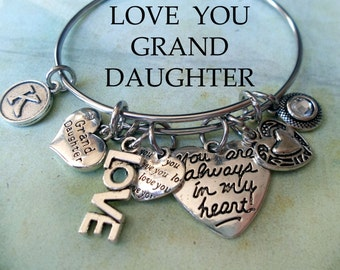 Granddaughter Bangle, LOVE YOU, Always In My Heart, Swarovski Birthstone Crystal, Custom Monogram Letter, Inspired by Liliana Angel