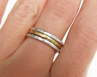 Stacking Ring Set - Hammered Ring Stacks - Gold Stacking Rings - Silver Rings for Women - Mixed Metal Rings