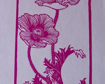 Chinese paper cut showing two poppy flowers.