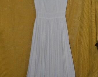 Vintage Handmade 70s Bohomein Boho Hippie Long White Eyelet Dress with Purple Trim Wedding Dress