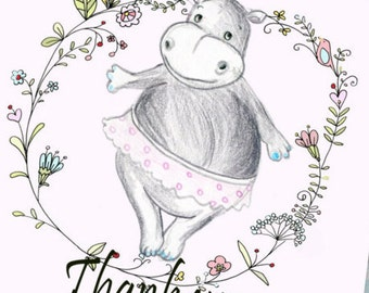 Cute thank you card etsy printable thank you card instant download greeting card pink hippo greeting card birthday bookmarktalkfo Image collections