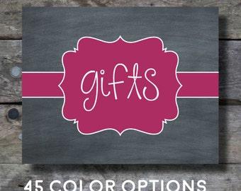 Gifts - PRINTABLE Wedding Sign - Custom Color Gift Table Sign