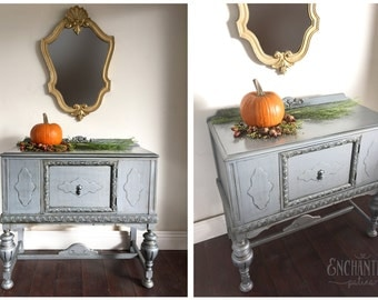 SOLD - Painted Dresser, Painted Sideboard, Antique dresser, Jacobean Buffet, Sideboard, Entryway Table, Grey Table, Silver Dresser