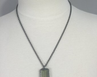Gunmetal rolo chain necklace with a soldered Emerald Cut Green Amethyst