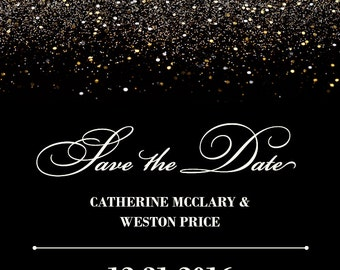 Gold Glitter Glitzy Glam Save the Date