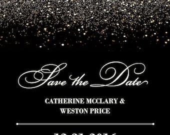 SALE SALE SALE!!!  Gold Glitter Glitzy Glam Save the Date