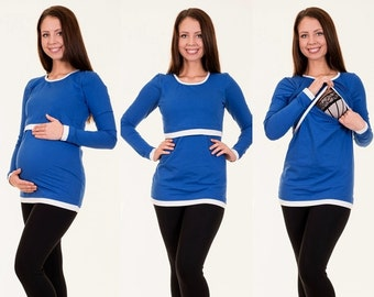 Maternity shirt still shirt 3-in-1 long-sleeved maternity wear