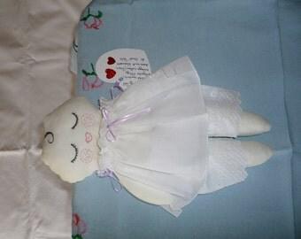 Baby Rag doll, soft doll, dressed in white, christening present?