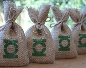 "DC Comics Green Lantern Small Rustic Hessian Burlap Wedding Birthday Party Geeky Gift Favour Bags Pouches W9 x H15cm (3.5"" x 6"")"