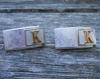 Vintage Silver Monogram K Cufflinks.. 1970s. Gift For Dad, Brother, Husband.