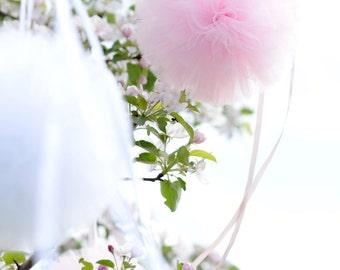 Tulle pom pom set / wedding party decorations pom poms - your colors - value set