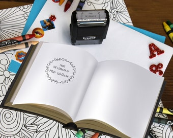 From The Library of Stamp, Teacher stamps, Self Inking Stamp, Gifts for teachers, Teacher Appreciation Gifts, --SI-400RC-MRSWALLACE