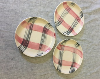 Vintage Stetson Scots Plaid Pink Charcoal Saucers, Set of 3, Mid Century Dishes