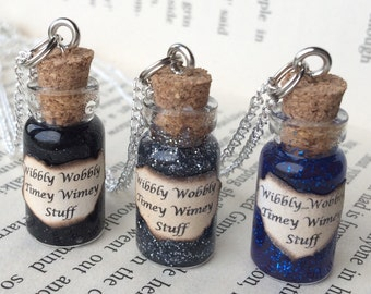 Wibbly Wobbly Timey Wimey Stuff Bottle Necklace / Pendant / Bookmark / Earrings / Decoration / Kering inspired by Doctor Who