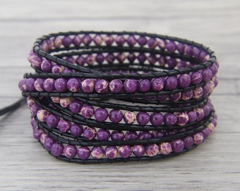 Purple jasper bead wrap bracelet Purple wrap bracelet Boho bead wrap bracelet Leather wrap bracelet leather bead bracelet Jewelry SL-0459