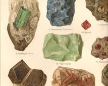 1901 Antique Rocks Minerals Print Double Page Lithograph Original Book Plate