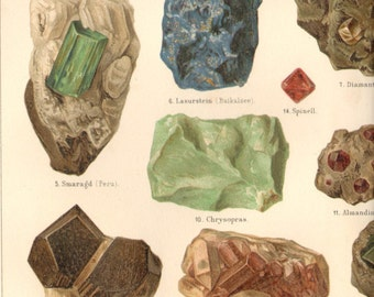 1901 Antique Rocks Minerals Print Double Page Lithograph Original Book Plate