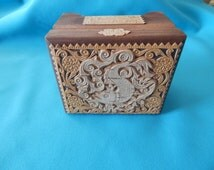 Vintage Hand Crafted Russian Wood Box Folk Art 1990's