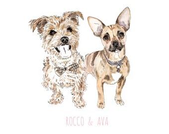Custom Double Pet Portrait Illustration-Dogs Portrait-Cats Portrait