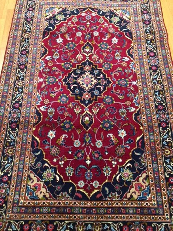 "4'1"" x 6'9"" Persian Kashan Oriental Rug - Hand Made - 100% Wool Pile"