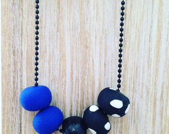 """Polymer Clay Necklace - """"Blue & Polka Dots"""""""