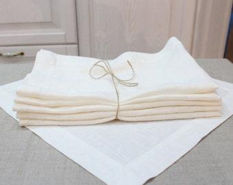 Cloth napkins, Linen napkins, Linen napkin set of 6, Natural linen napkins, kitchen clothing